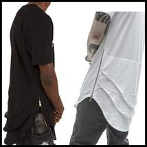 Latest Side Zipper Extended Mens Hip Hop Beetle Tail Long T-shirt Stitching Tees