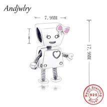 925 Sterling Silver Robot Girl Bella Bot Charm Fits Original Pandora Cha... - $26.55