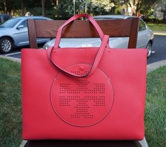 Tory Burch Perforated Logo Leather Tote in Red Ginger Tuscan Wine NEW $395 - £191.87 GBP
