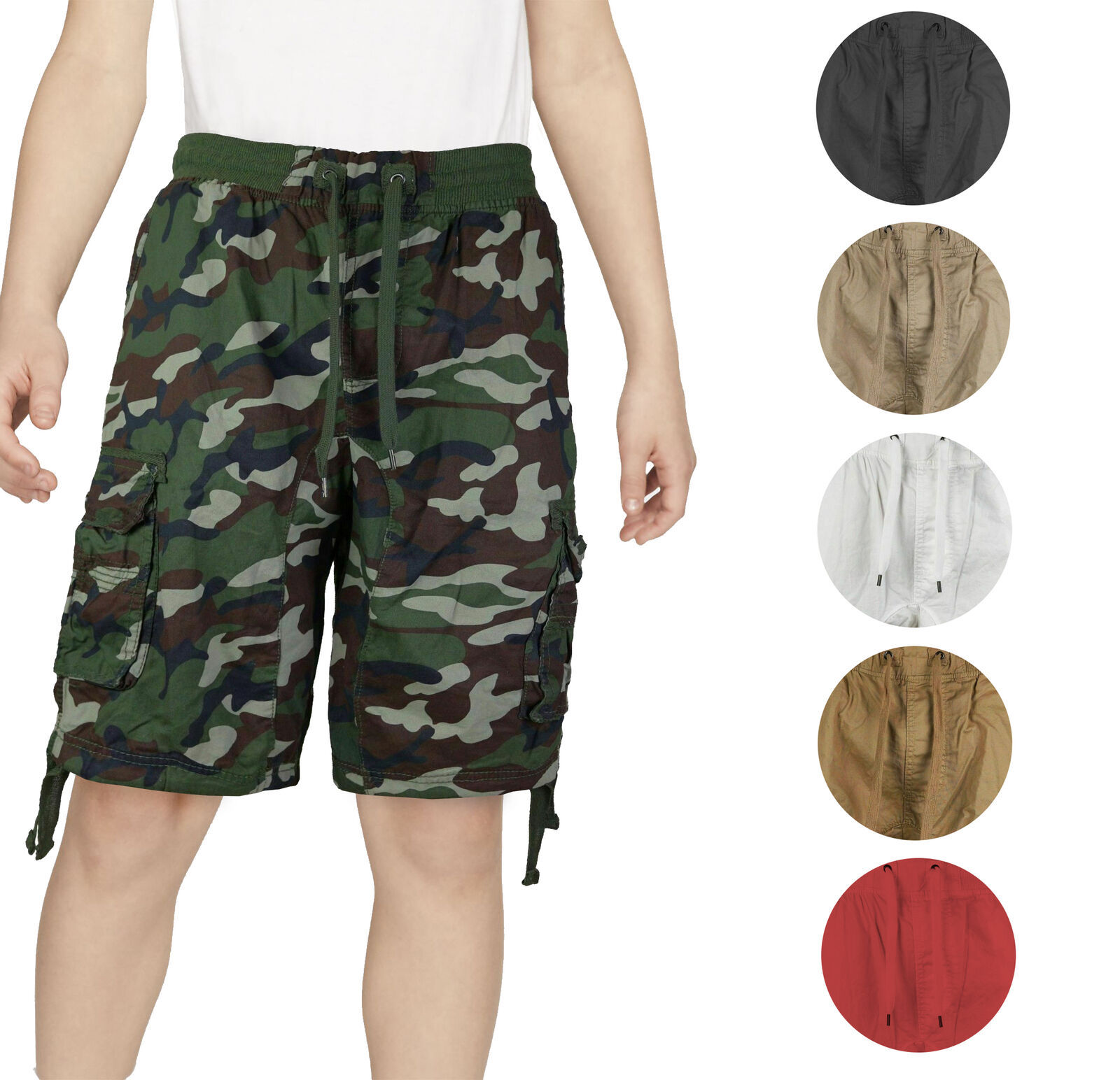 Boys Elastic Waist Drawstring Multi Pocket Cotton Toddler Kid Cargo Shorts