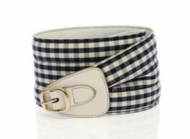"""Dolce & Gabanna Womens Blue Check Cotton Leather Logo Waist Belt 32"""" - $157.41"""