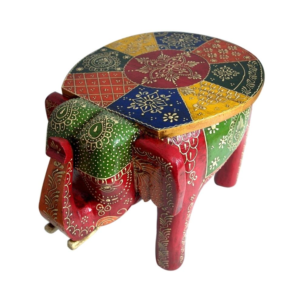 Wooden Colored Designer Small Stool Elephant Home Decor
