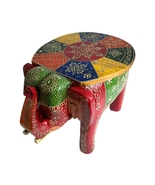 Wooden Colored Designer Small Stool Elephant home Decor. Decorative Stoo... - $52.99