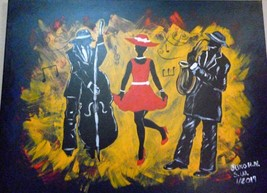 "Vibrant Jazz Painting Art 23""X 31"" - $252.45"