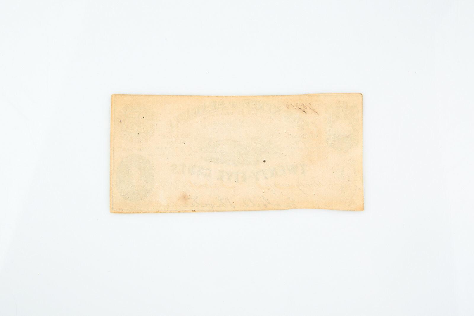 1863 Estado de Alabama Twenty-Five Centavos Confederado Fraccionario Moneda