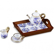 DOLLHOUSE Tea for One with Tiled Tray 1.319/6 Reutter Blue Onion Miniature - $35.25