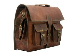 "15"" Vintage Leather 100 % REAL New Leather Bag / Laptop Bag - $65.00"