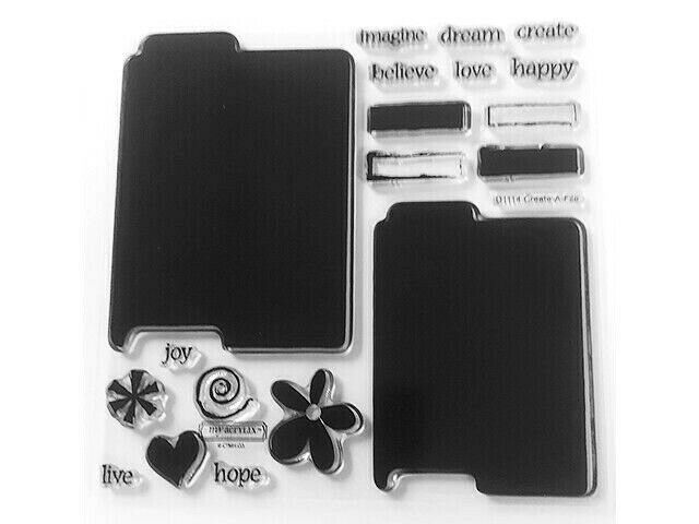"""Close to My Heart """"Create-A-File"""" Clear Cling Acrylic Stamp Set #D1114"""