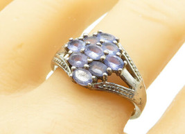925 Sterling Silver - Vintage Tanzanite 9 Stone Band Ring Sz 10.5  - R12400 - $27.04