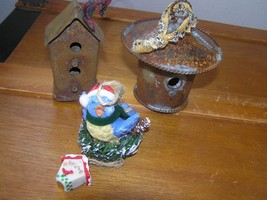Lot of 2 Recycled Metal Birdhouses & Resin Bluebird Christmas Tree Ornam... - $9.49