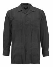 Men's Guayabera Long Sleeve Button Up Beach   Embroidered Black Dress Shirt - XL