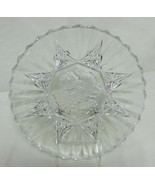 "Vintage Federal Glass Pioneer 8"" Clear Cut Salad Plate Fruit Design 8 Point Star - $14.99"