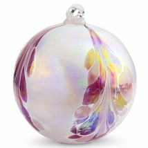 "4"" European Art Glass Crested Plume Rose & Pearlized White Witch Ball Kugel - $24.20"