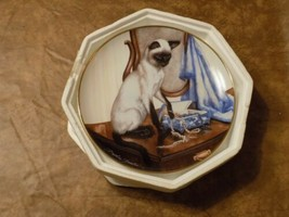 """Franklin Mint Velvet Touch Siamese Cat Collector Plate By Daphne Baxter 8"""" - $19.80"""