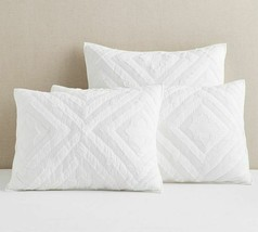 Pottery Barn Foundational Diamond Candlewick Pillow Sham King White Quilted Reta - $41.79