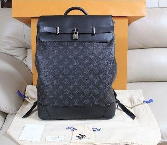 02bc315ba97d 57. 57. Previous. LOUIS VUITTON LV STEAMER Bag M44052 Backpack Rucksack  Monogram Black Auth New
