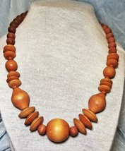 """Vintage 80s Necklace, Chunky Wood Bead Necklace, 20"""" Choker necklace, Chunky Cho - $6.94"""