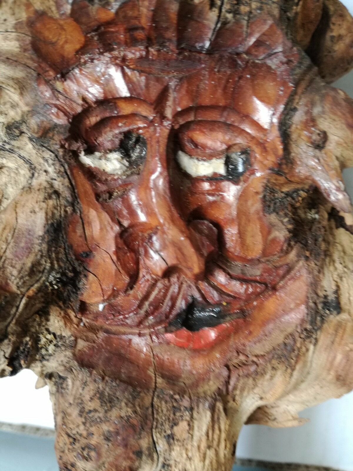 Antique Black Forest HandCarved Wooden German Root face Hobbit Gnome deco image 3