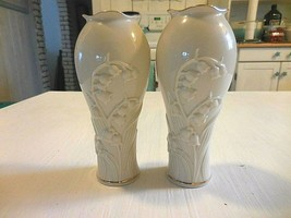 Pair (2) of bluebell embossed gold rimmed small Lenox vases - $14.84