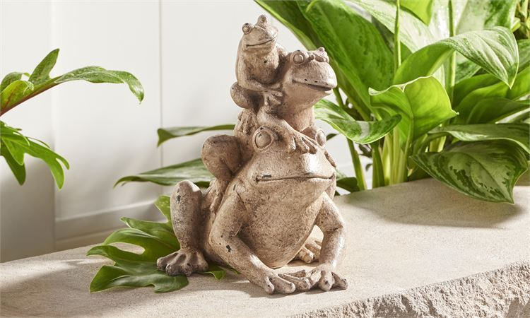 "11.4"" High - Stacked Three Frog Design Garden Statue Polyresin"