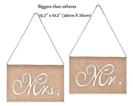 Burlap Mr. & Mrs. Chair Banner Set Chair Sign Garland Vintage Wedding Pa... - $7.86