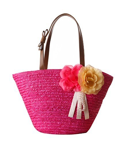Fashion Vacation Item/ Artificial Flower Straw Hand Bag/ Beach Bag/Rose Red