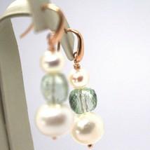 Tropfen Ohrringe Rosagold 18k, Weissen Perlen, Prasiolith Grün image 2