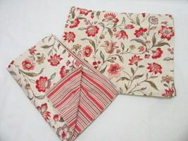 Pottery Barn Floral Reverse Stripe Standard Pillow Shams (Set of 2) - $48.00