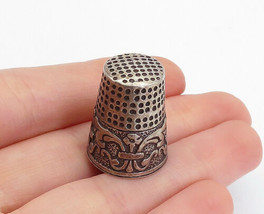 925 Sterling Silver - Vintage Dark Tone Floral Swirl Sewing Thimble - T2377 - $28.07
