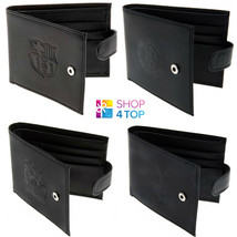 OFFICIAL LEATHER WALLET FOOTBALL SOCCER CLUB TEAM BLACK EMBOSSED CREST G... - $27.74