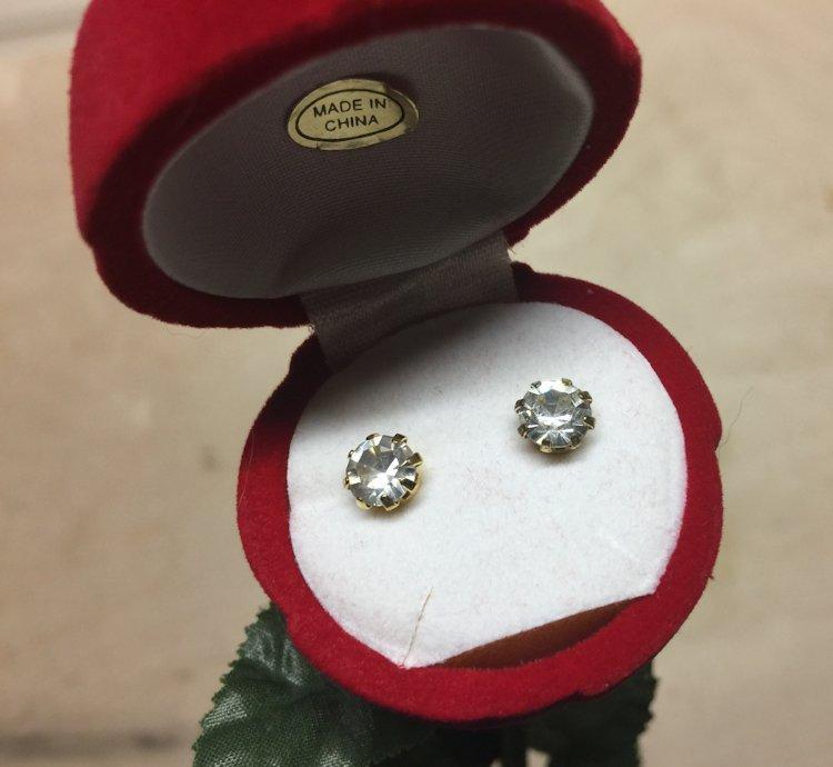 Vintage Clear Rhinestone Stud Earrings in Red Flocked Long Stem Rose Gift Box image 6