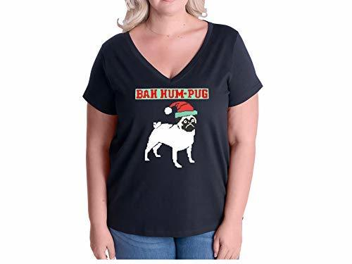 Primary image for 12.99 Prime Tees Women's Bah Hum Pug Plus Size V-Neck T Shirt 26-28 Black