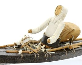 Greenlandic Inuit Miniature Skin on Frame Kayak Model in Exceptional Condition image 8