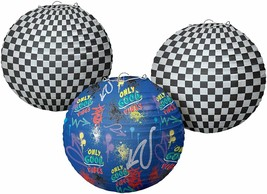 Skater Checkered Paper Lanterns with Add On's Party Decoration Skating 3PCS - $15.79