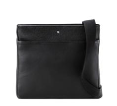 Montblanc Men's Black Leather Messenger Bag 113790 - Authentic - $926.39