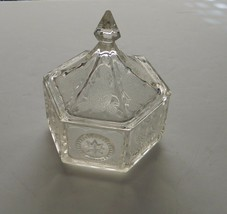 Tiara Colonial Clear Crystal Candy Dish Candy Box with Eagle & Star Pattern - $17.70