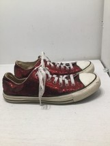Converse Red Glitter Sequin Chuck Taylor Sneakers Shoes W 10 507261F - $46.47