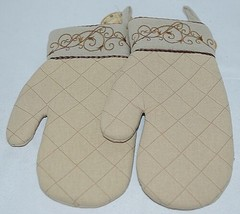 Grasslands Road Brand Cucina Style Set of Two Quilted, Embroidered Light Tan Ove image 1