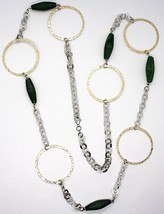 SILVER 925 NECKLACE, GIADA GREEN, CIRCLES YELLOW, 100 CM, ROLO' TEXTURED image 2