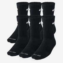 NEW Nike Dri Fit Dry Fit Cotton Black Crew Socks 6 Pair L 8-12 SX4445-001 - $22.00