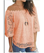 Miholl Medium Lace Blouse Cold Shoulder Sheer Sleeves Peach - $37.82