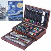 145 Piece Deluxe Art Creativity Set, Art Supplies in Portable Wooden Case - $50.85