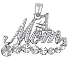 925 Sterling Silver Number One Mom Pendant with White Sparkle Design Mad... - $19.59