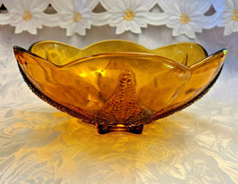 "Vintage Amber Glass Bowl With Embossed Leaf Pattern On Bottom 7.5"""