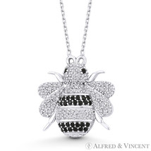 HoneyBee CZ Crystal Animal Insect Charm Necklace Pendant in 925 Sterling Silver - $29.24