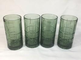 Anchor Hocking Tartan Pattern glasses Avocado  Green  16 oz - $23.12