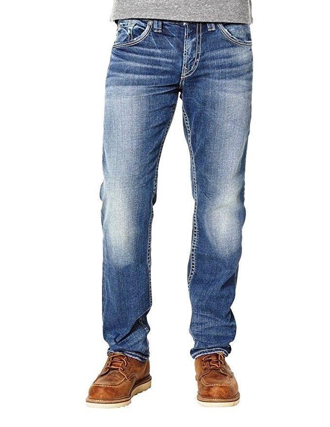 Silver Jeans EMC Denim Men's Eddie Relaxed Fit Taper Leg Pants Medium Wash