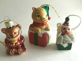 """Christmas Ornaments 3""""Bear Bell 2""""Jack in box & Red Bear 3pc Holiday Acc... - $11.63"""