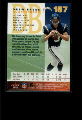2002 FLEER ULTRA #157 DREW BREES NM-MT CHARGERS