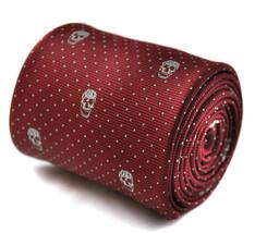 Frederick Thomas Designer Mens Tie - Burgundy Maroon - Skull Gothic Polk... - $16.49
